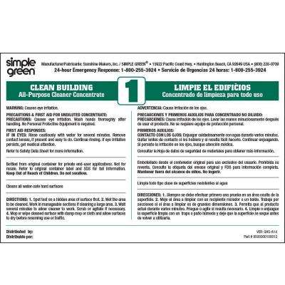 Clean Building All-Purpose Cleaner Secondary Label (10-Pack)