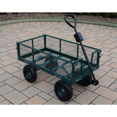 Utility Metal Garden Cart with Adaptor Handle and 450 lbs. Weight Hauling Capacity