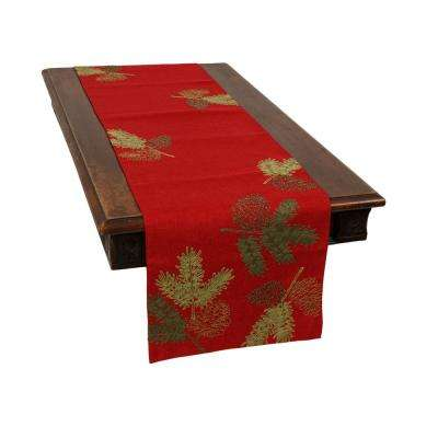 0.1 in. H x 15 in. W x 90 in. D Christmas Pine Tree Branches Embroidered Double Layer Table Runner