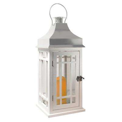Lantern 9 in. x 20 in. White Wooden Lantern Chrome Roof with LED Candle