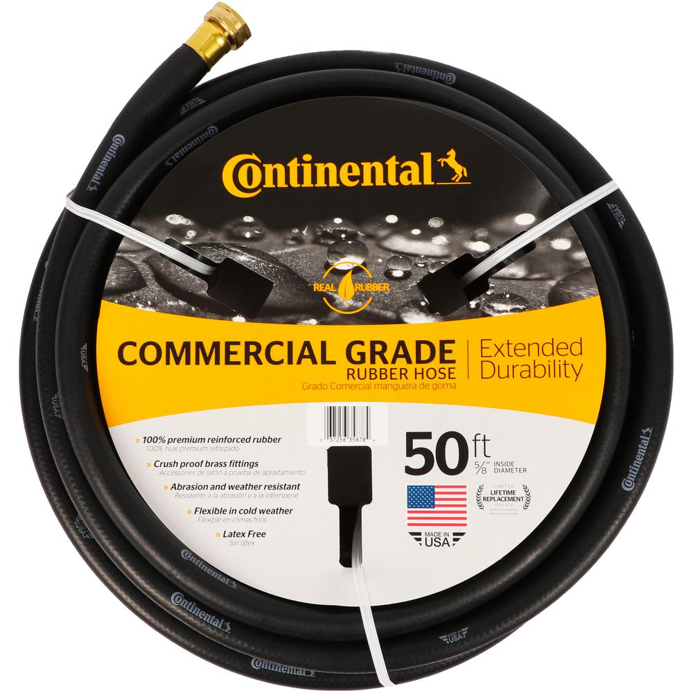 Continental Premium 5/8 in. Dia x 50 ft. Commercial Grade Rubber Black Water Hose