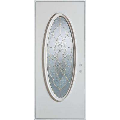 36 in. x 80 in. Traditional Brass Oval Lite Prefinished White Left-Hand Inswing Steel Prehung Front Door