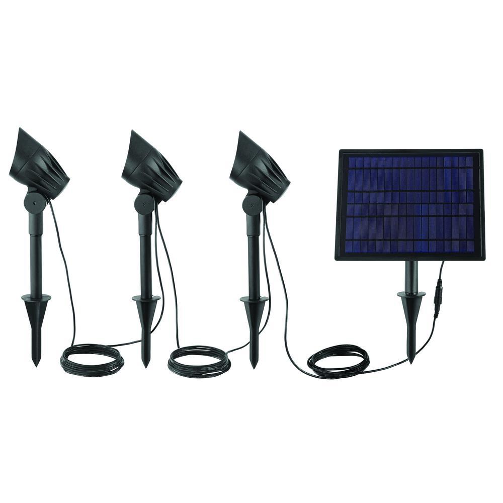 Solar Black LED 75-150 Lumen High-Low 3-Head Metal Spotlight