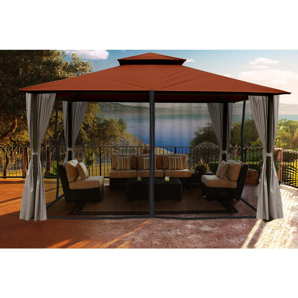 Gazebo With Rust Sunbrella Top And Privacy Curtain