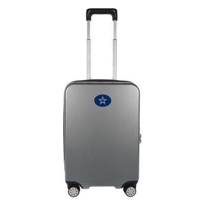 NFL Dallas Cowboys Premium Silver 22 in. 100% PC Hardside Carry-On Spinner w/ Charging Port Suitcase