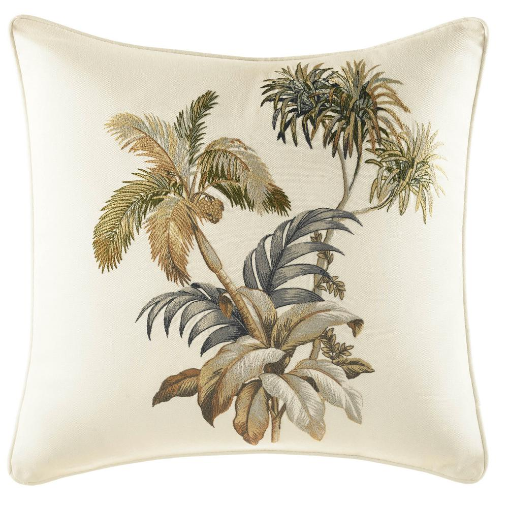 Nador Palm Embroidery 16 in. x 16 in. Throw Pillow, Beige The beautiful Tommy Bahama Nador Palm Square Throw Pillow brings a touch of paradise to your bedroom decor. Crafted in soft and comfortable cotton, the soothing botanical design features palm trees rustling in an island breeze on a creamy ivory ground. Dimensions: (16 in. x 16 in.). Color: Beige.