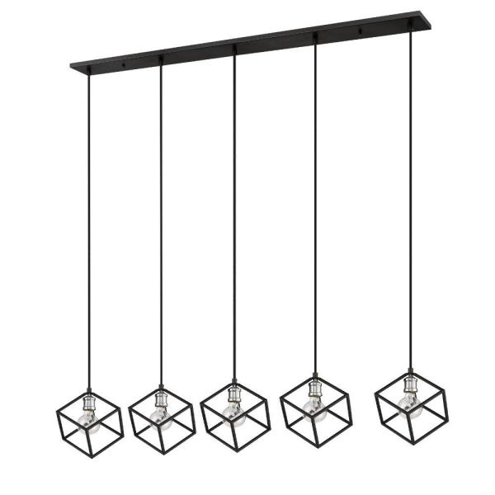 Filament Design 5 Light Matte Black And Brushed Nickel Billiard Light Hd Te49883 The Home Depot