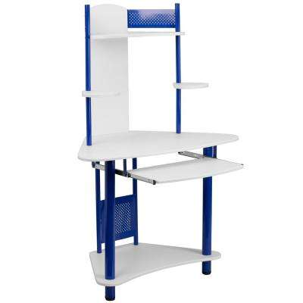Blue and White Corner Computer Desk with Hutch