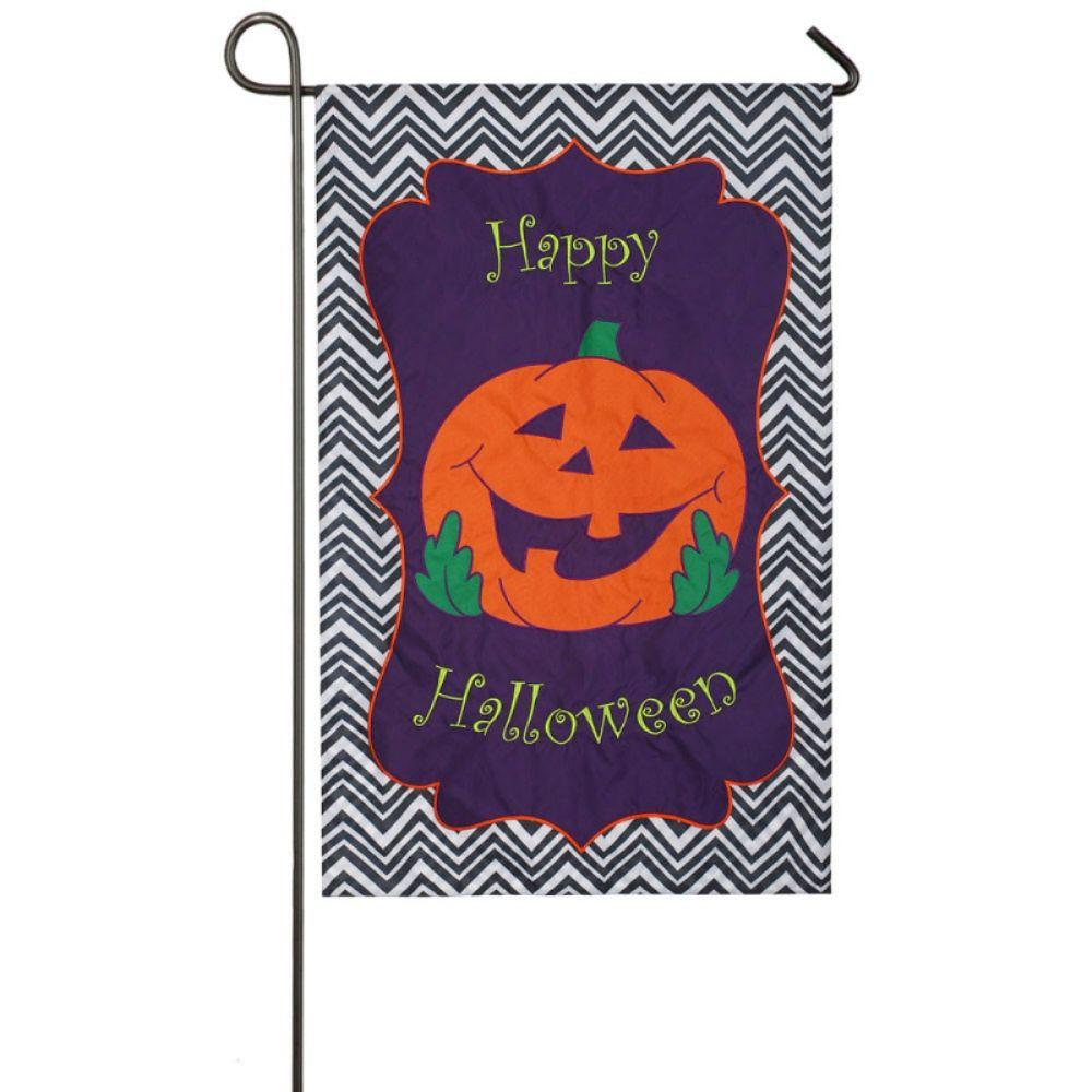 Evergreen 1 ft. x 1-1/2 ft. Applique Happy Halloween 2-Sided Garden Flag