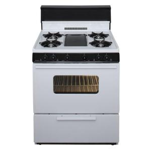 Premier 30 inch 3.91 cu. ft. Battery Spark Ignition Gas Range with 5 Burner and Griddle Package in White by Premier