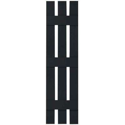 12 in. x 80 in. Lifetime Vinyl Standard Three Board Spaced Board and Batten Shutters Pair Black