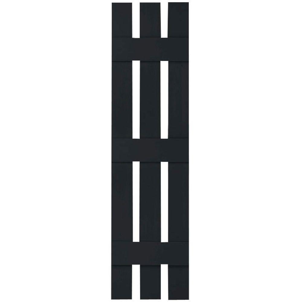 Ekena Millwork 12 In X 68 In Lifetime Vinyl Custom Three Board Spaced Board And Batten Shutters Pair Black Ls3c12x06800bl The Home Depot