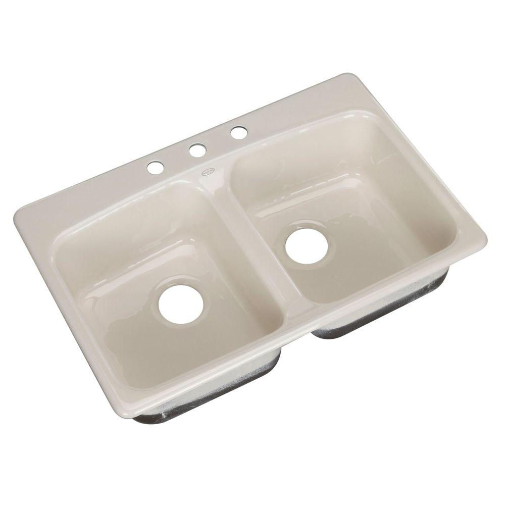 KOHLER Brookfield Self-Rimming Cast Iron 33x22x8.625 3-Hole Kitchen Sink in Biscuit-DISCONTINUED