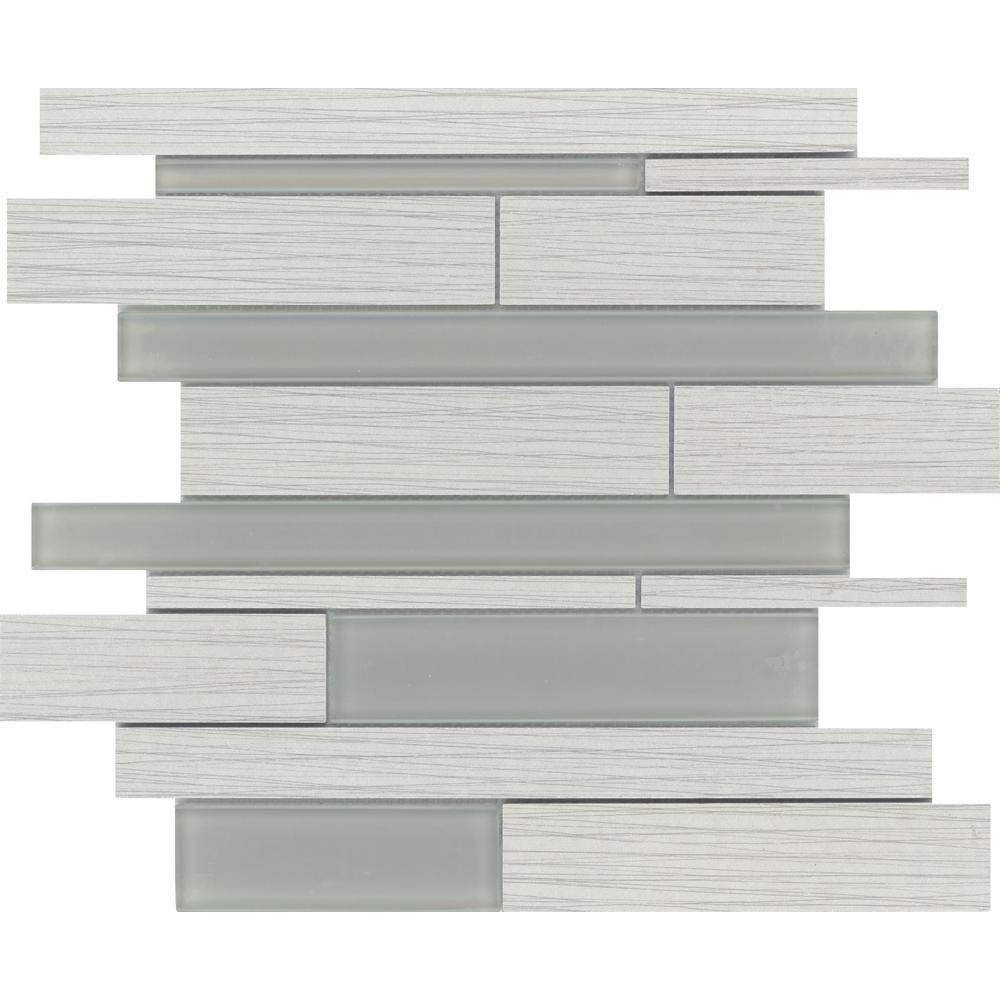 Thread Silver Matte 13.07 in. x 13.07 in. x 7mm Porcelain Mesh-Mounted Mosaic Tile (1.17 sq. ft.)