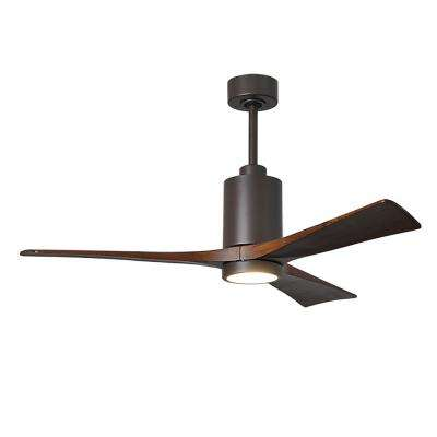 Patricia 52 in. LED Indoor/Outdoor Damp Textured Bronze Ceiling Fan with Remote Control, Wall Control