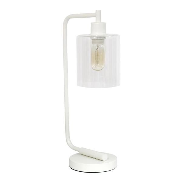 18.75 in. Bronson Antique Style White Industrial Iron Lantern Desk Lamp with Glass Shade