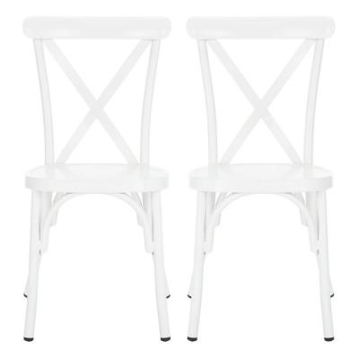 Axton Matte White Stackable Metal Outdoor Dining Chair (2-Pack)