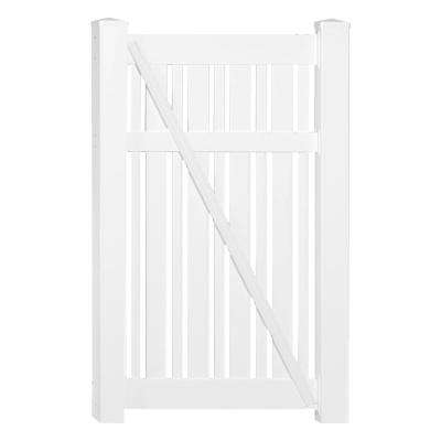 Davenport 3.9 ft. x 5 ft. White Vinyl Semi-Privacy Fence Gate Kit