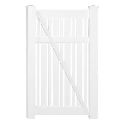 Davenport 3.9 ft. x 6 ft. White Vinyl Semi-Privacy Fence Gate Kit