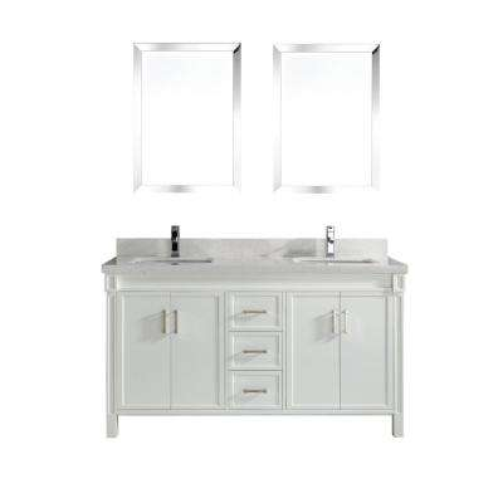 Serrano 63 in. W x 22 in. D Vanity in White with Engineered Vanity Top in White with White Basin and Mirror