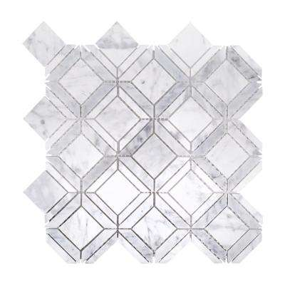 Carlyle Carrara 11-1/8 in. x 11-1/8 in. x 8 mm Marble Mosaic Tile