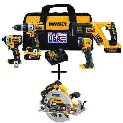 20-Volt MAX XR Lithium-Ion Cordless Combo Kit (4-Tool) with Bonus Bare 7-1/4 in. Circular Saw with Brake