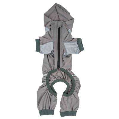 Large Grey Namastail Breathable Full Body Performance Yoga Dog Hoodie Tracksuit