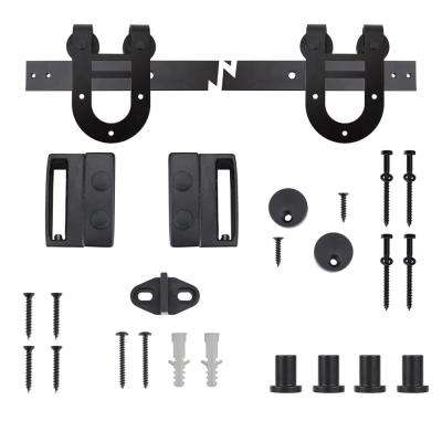 72 in. Black Horseshoe Sliding Barn Door Track and Hardware Kit