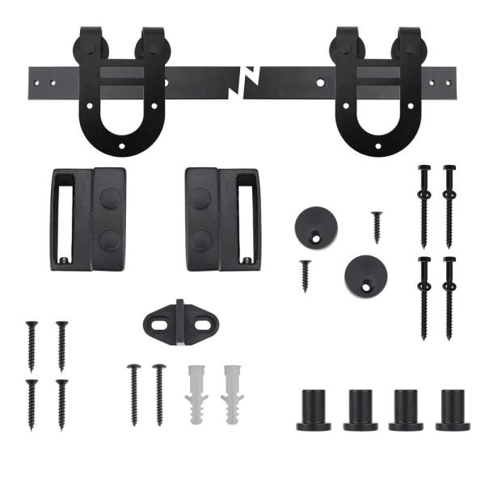 72 in. Black Horseshoe Sliding Barn Door Track and Hardware Kit