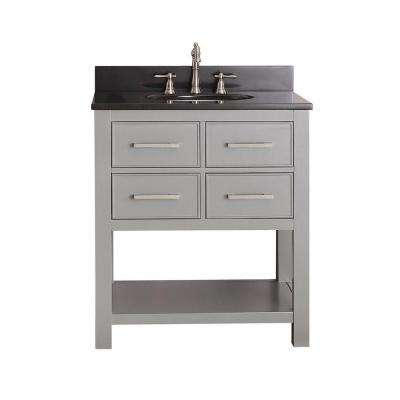 Brooks 31 in. W x 22 in. D x 35 in. H Vanity in Chilled Gray with Granite Vanity Top in Black and White Basin