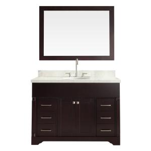 Ariel Stafford 49 inch Vanity in Espresso with Quartz Vanity Top in White with White Basin and Mirror by Ariel