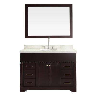 Stafford 49 in. Vanity in Espresso with Quartz Vanity Top in White with White Basin and Mirror