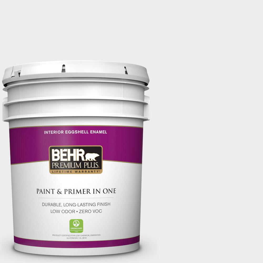 BEHR Premium Plus 5 gal. #760E-1 Igloo Eggshell Enamel Zero VOC Interior Paint and Primer in One