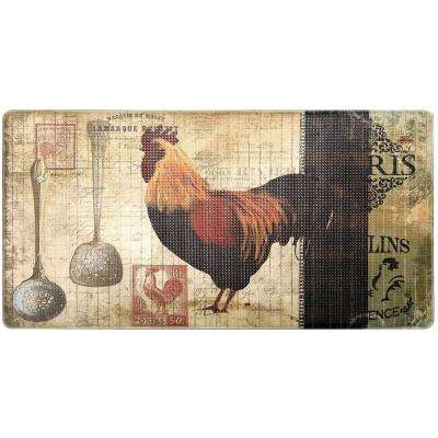 Cook N Comfort Multi Paris Rooster 20 in. x 39 in. Kitchen Mat
