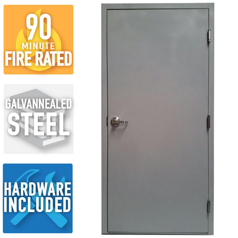 36 in x 80 in fire rated gray left hand flush steel
