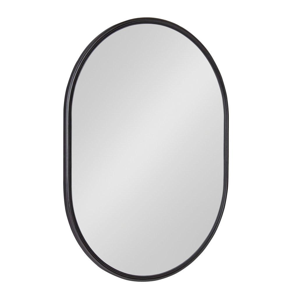 Caskill 24 in. x 18 in. Modern Oval Black Wall Mirror