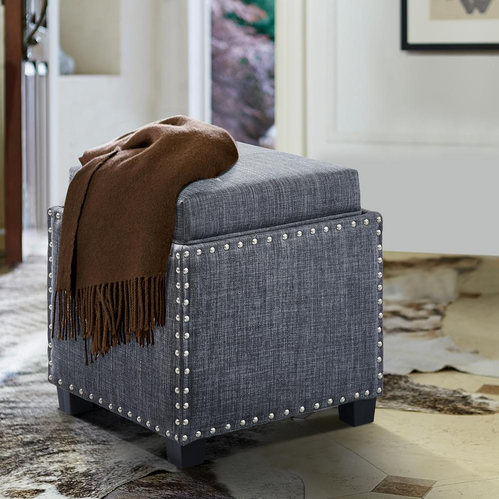 Blaze Slate Grey Linen Contemporary Ottoman with Wood Legs