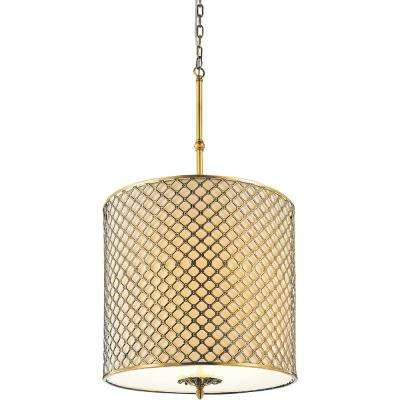 Gloria 4-Light French Gold Chandelier with Beige shade