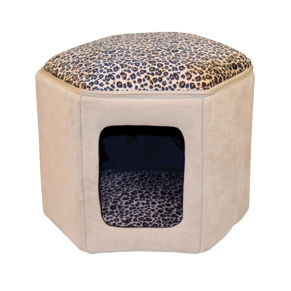 Thermo-Kitty Sleep-House Small-Medium Tan Leopard Heated Cat Bed