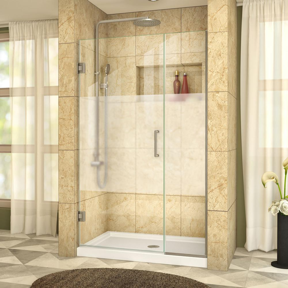 This Review Is From Unidoor Plus 39 1 2 To 40 In X 72 Frameless Hinged Shower Door With Half Frosted Glass Brushed Nickel