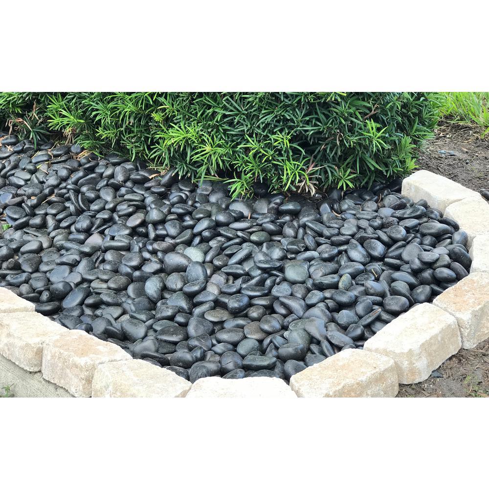 black garden stones