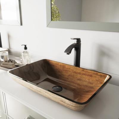 Glass Vessel Bathroom Sink in Amber Sunset and Linus Faucet Set in Antique Rubbed Bronze