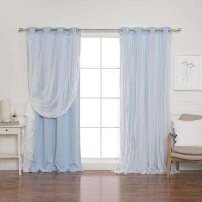 108 in. L Sky Blue Marry Me Lace Overlay Blackout Curtain Panel  (2-Pack)