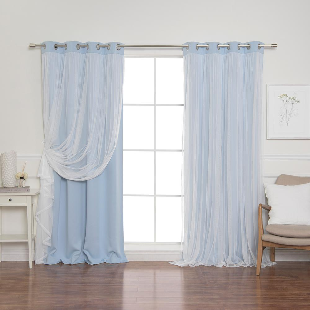 Best Home Fashion 84 in. L Sky Blue Marry Me Lace Overlay Blackout Curtain Panel (2-Pack)