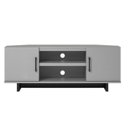 Julia 48 in. Dove Gray Particle Board Corner TV Stand Fits TVs Up to 50 in. with Cable Management