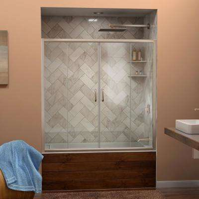 Visions 56 in. to 60 in. W x 58 in. H Semi-Frameless Sliding Tub Door in Brushed Nickel