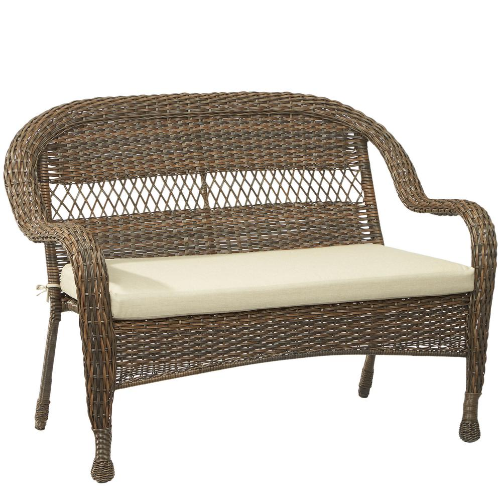 Mix and Match Brown Wicker Outdoor Stack Loveseat with Beige Cushion