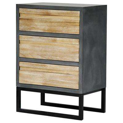 Shelly Assembled 22 in. x 22 in. x 14 in. Gray Iron Accent Storage Cabinet with 3 Wood Drawers