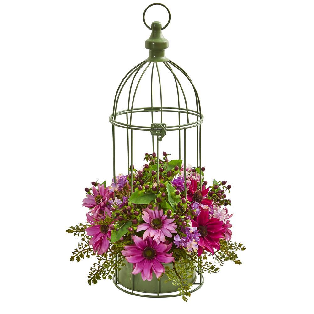 Indoor Daisy Artificial Arrangement in Decorative Bird Cage