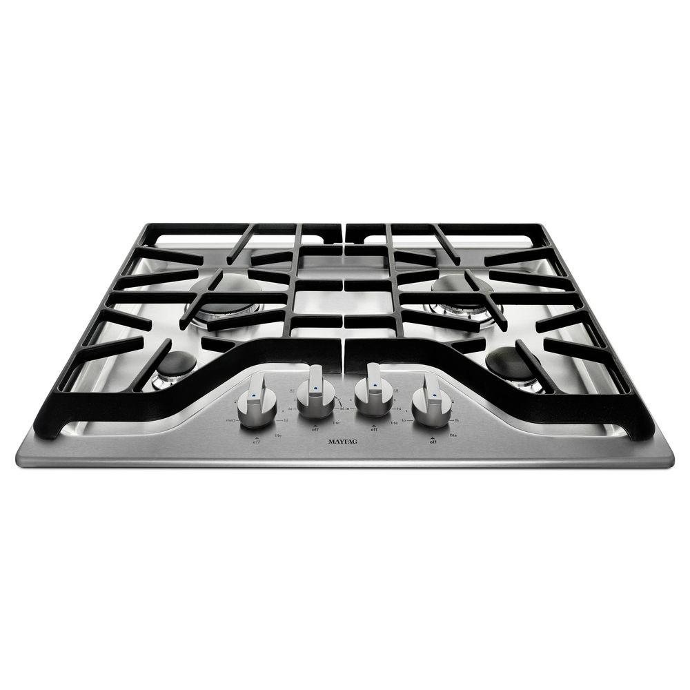Maytag 30 In. Gas Cooktop In Stainless Steel With 4 Burners Including  15000 BTU